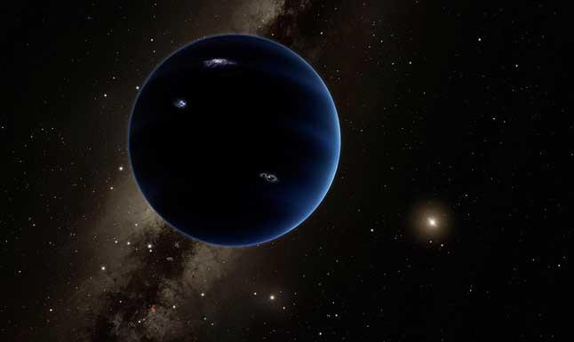 Иллюстрация, силуэт, девятая планета, гипотетическая планета, Солнечная система, Солнце, Млечный путь, галактика, звезды, космос