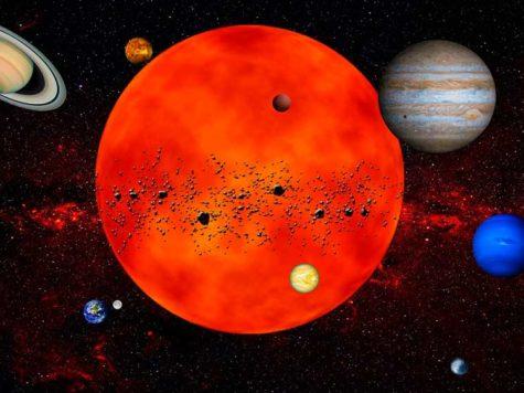 Солнечная система, планетная система, иллюстрация, Солнце, планеты, астероиды, Меркурий, Венера, Земля, Марс, Юпитер, Сатурн, Уран, Нептун