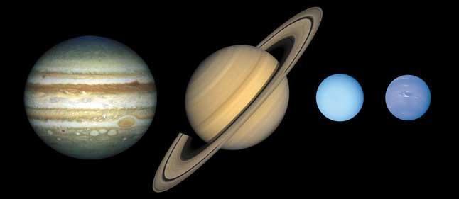 Планеты-гиганты, газовые гиганты, внешние планеты, Юпитер, Сатурн, Уран, Нептун, сравнение размеров, масштаб