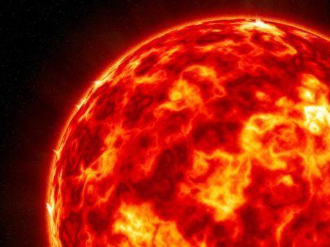 Солнце, звезда, космос, огонь, жар, красное, иллюстрация