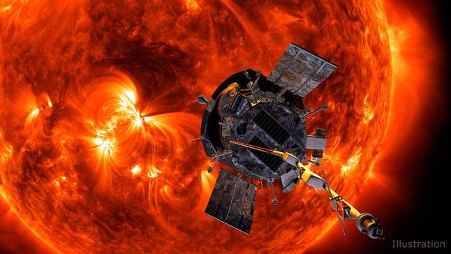 Солнце, космический зонд, изучение, исследование, иллюстрация