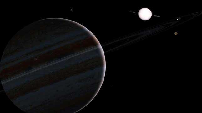 Юпитер, Сатурн, планеты, кольца, Солнечная система, иллюстрация