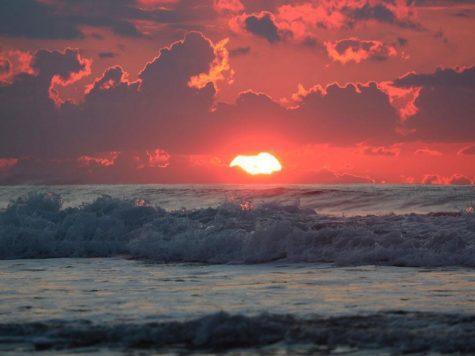 Солнце, закат, конец дня, вечер, красное небо, океан, море, волны, пляж