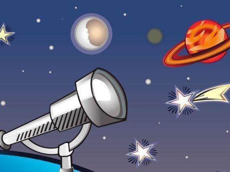 телескоп, наблюдение, космос, планета с кольцами, Сатурн, звезды, луна