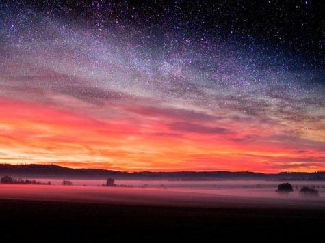 восход, Солнце, утро, новый день, небо, звезды, пейзаж