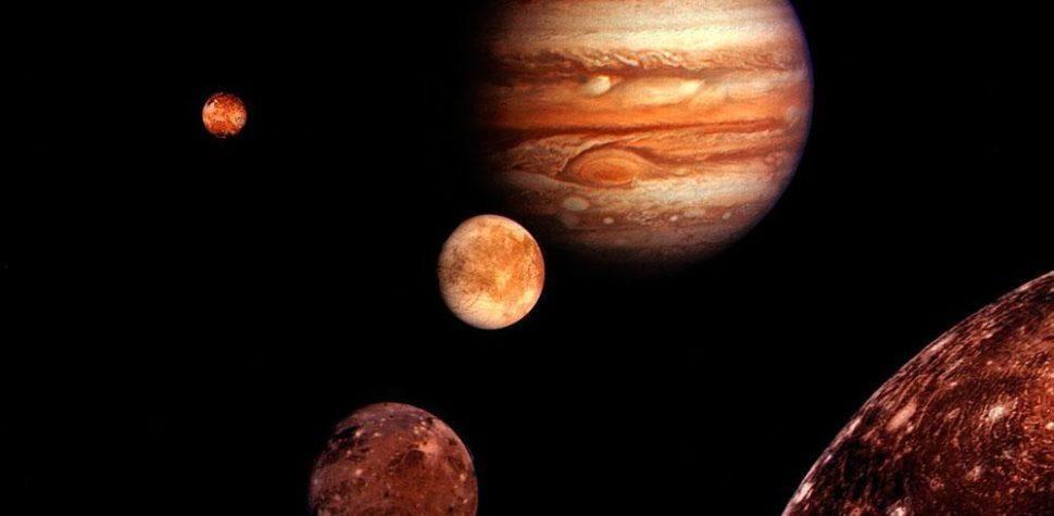 Юпитер, планета, Галилеевы спутники, Ио, Европа, Ганимед, Каллисто, гравитация, иллюстрация, монтаж