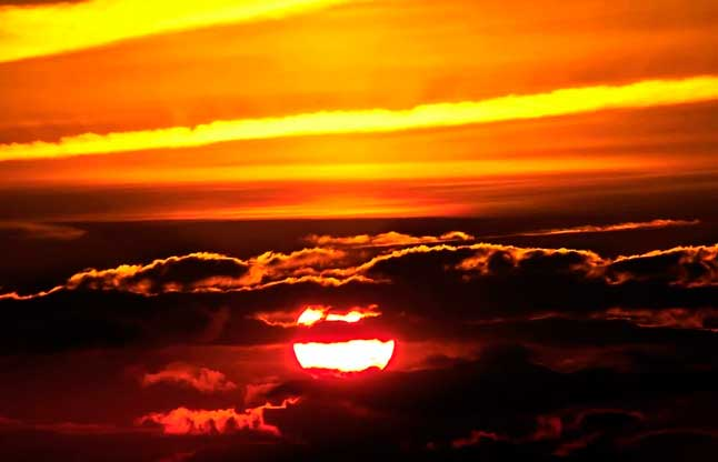 Солнце, закат, небо, облака, вечер