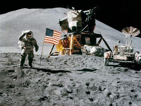 Луна, человек, космонавт, астронавт, американец, скафандр, флаг США, космический аппарат, поверхность луны, НАСА, NASA