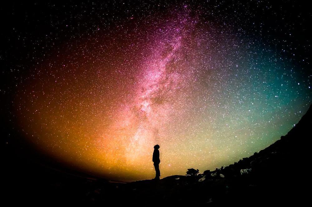Млечный путь, галактика, ночное небо, звезды, космос, человек, астрофото