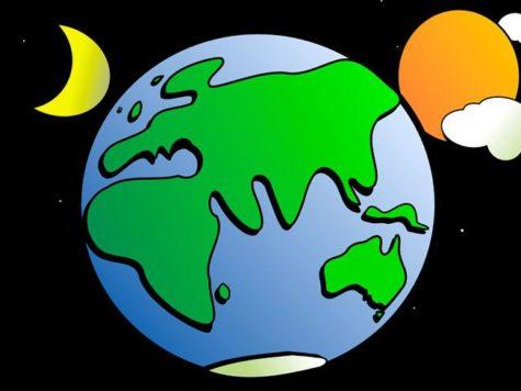 Земля, Солнце, Луна, месяц, планета, космос, облака, звезды, рисунок, иллюстрация