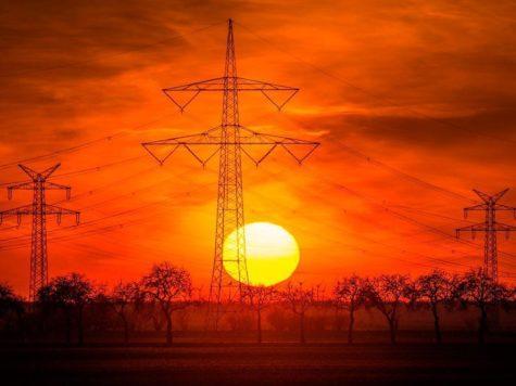 Солнце, закат, конец дня, оранжевое небо, линии электропередач, ЛЭП, энергия, ток
