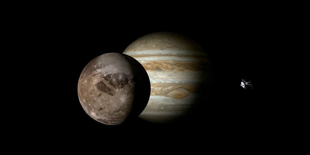 Ганимед, спутник, Юпитер, планета, большой, крупный, космос, космический аппарат