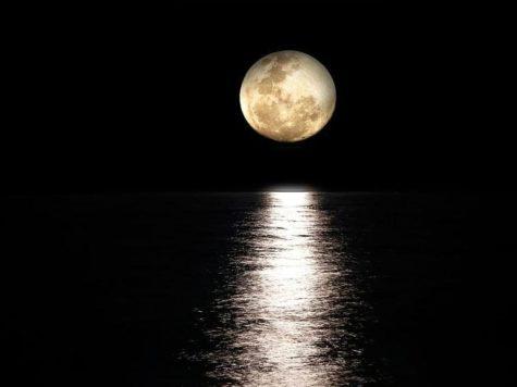 Луна, полнолуние, ночь, море, водная гладь, лунная дорожка, лунный свет
