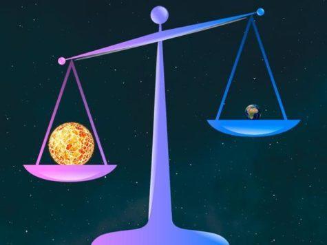 Солнце, Земля, космос, весы, размеры, вес, масса, сравнение, иллюстрация