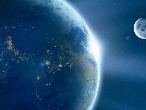 Земля, Луна, Солнце, планета, звезда, спутник, космос, рассвет