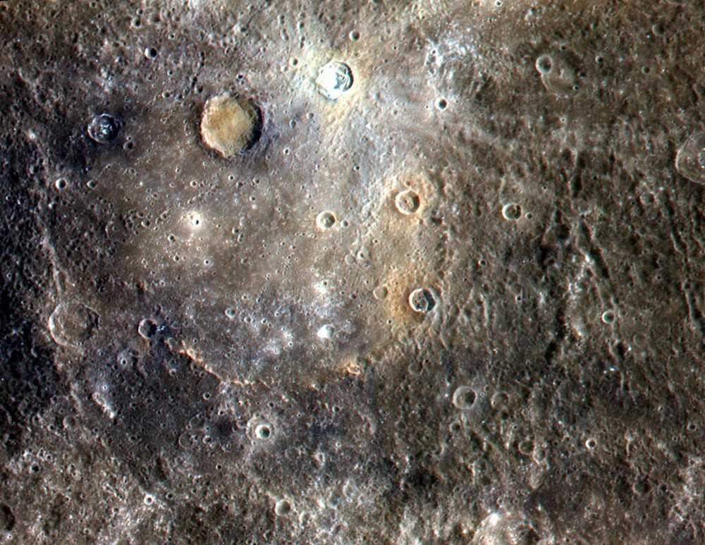 Меркурий, планета, поверхность, кратера, цветное фото, НАСА, NASA, Мессенджер, MESSENGER, межпланетная станция