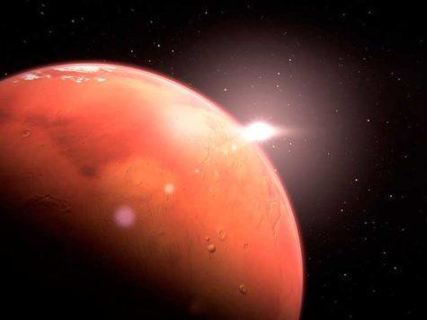 Марс, красная планета, Солнце, Солнечная система, космос, пространства, иллюстрация