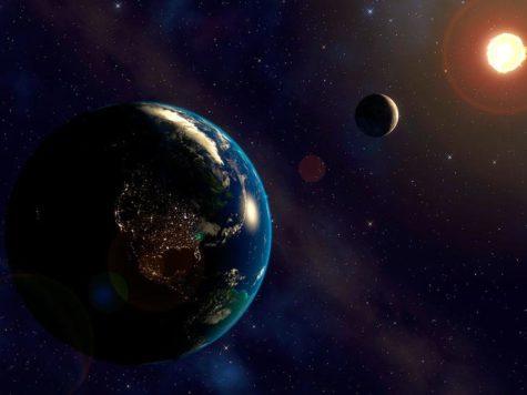 Земля, Луна, Солнце, планета, спутник, звезда, космос, орбита, иллюстрация, рисунок