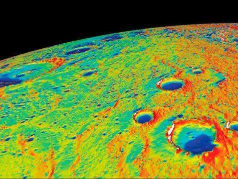Меркурий, планета, карта, температуры, поверхность, рельеф, полярная область, фото, НАСА, NASA