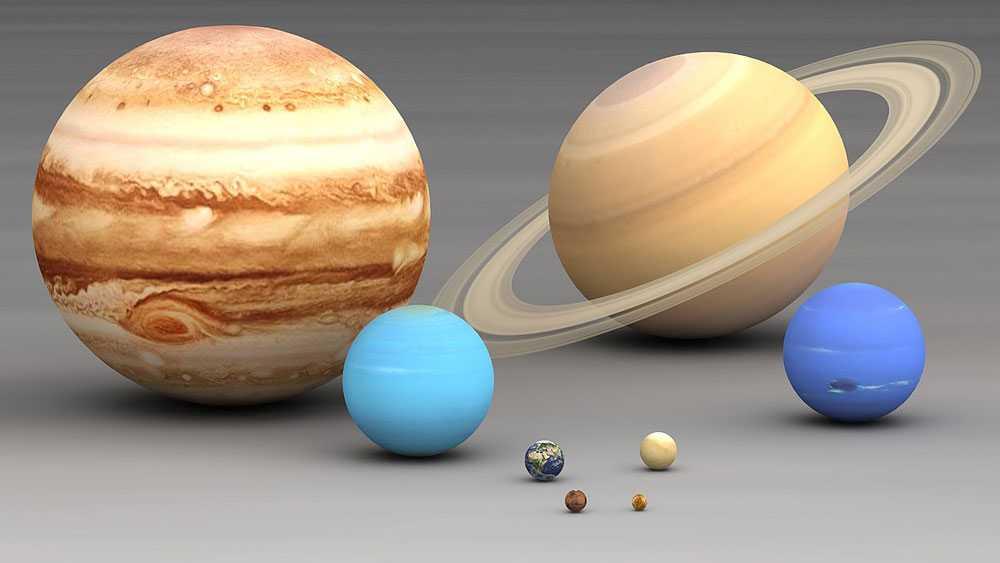 планеты, солнечная система, сравнение размеров, большие, маленькие, тяжелые, легкие, массивные, Юпитер, Сатурн, Уран, Нептун, Земля, Венера, Марс, Меркурий