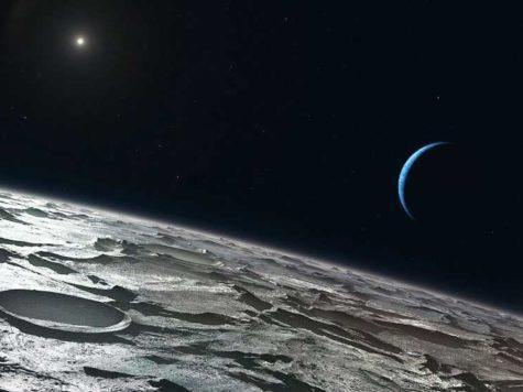 Тритон, спутник, сателлит, луна, Нептун, полумесяц, планета, Солнце, звезды, Солнечная система, космос, рисунок, иллюстрация, картина, фантазия