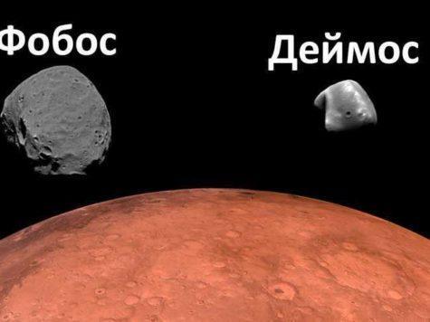 Фобос, Деймос, спутники, сателлиты, Марс, планета, космос, иллюстрация