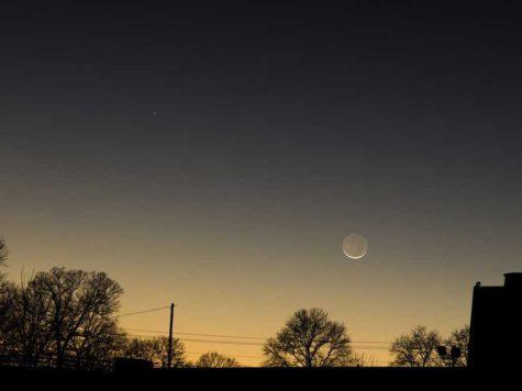Меркурий, Луна, вечер, ночь, конец дня, закат, небо, фото, планета, спутник