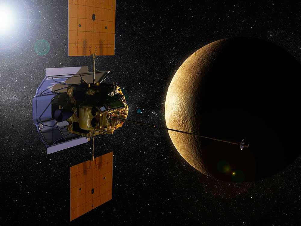 Меркурий, планета, космос, космический корабль, космический аппарат, спутник, Мессенджер, MESSENGER, орбита, рисунок, иллюстрация