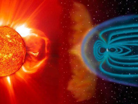 Солнце, вспышка, солнечный ветер, энергия, Земля, планета, магнитное поле, иллюстрация
