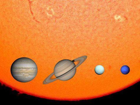Солнце, планеты-гиганты, газовые гиганты, Юпитер, Сатурн, Уран, Нептун, Солнечная система, сравнение размеров, масштаб, иллюстрация,