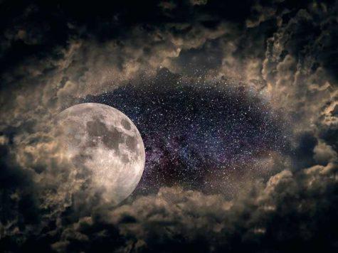 Луна, облака, небо, звезды, космос