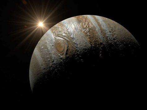 Юпитер, планета, Солнце, звезда, свет, лучи, рассвет, космос, иллюстрация