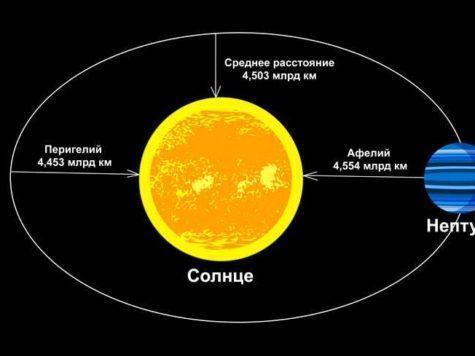 Нептун, планета, Солнце, звезда, расстояние, орбита, Перигелий, Афелий, схема, иллюстрация, рисунок