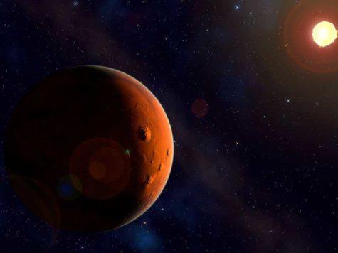 Марс, планета, Солнце, космос, пространство, звезды, галактика, иллюстрация