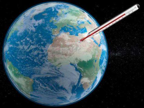 Земля, планета, космос, звезды, температура, градусник, иллюстрация