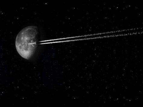 Луна, звездное небо, ночь, самолет, полет, фото, иллюстрация