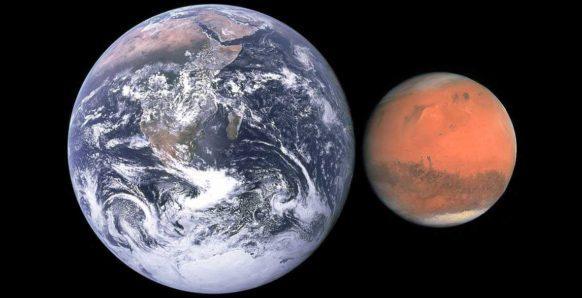 Марс, Земля, планеты, фото, сравнение размеров