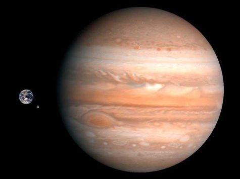 Юпитер, Земля, Луна, спутник, планеты, фото, сравнение размеров