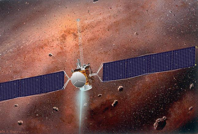 иллюстрация, автоматическая межпланетная станция, АМС, Dawn, пояс астероидов, космос, пространство