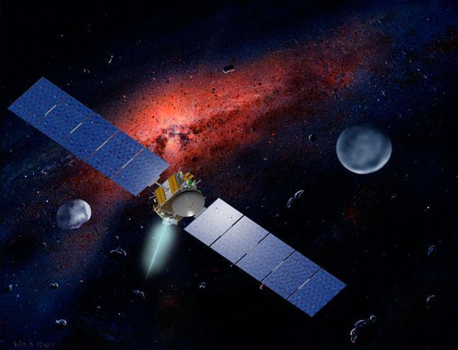 иллюстрация, автоматическая межпланетная станция, АМС, Dawn, астероид, Веста, карликовая планета, Церера, космос, компьютерная графика