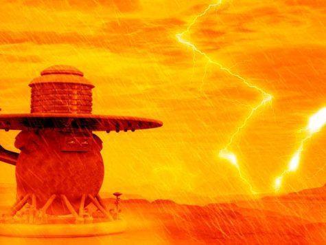 Венера, иллюстрация, космический аппарат, дождь, молния